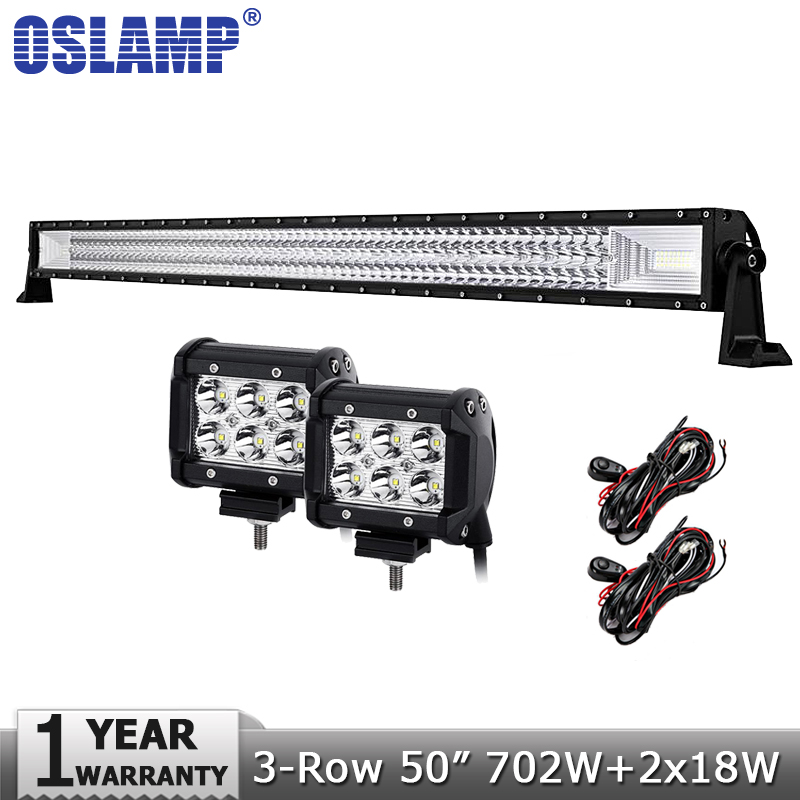 Oslamp 3-row 50inch 480W LED Light Bar Combo Offroad Led Bar+18W 4 Flood Spot Led Work Light 12v 24v for Truck ATV UTV 4WD 4x4 4d for philips led bar 120w 12 spot led light bar offroad atv truck 4x4 utv 4wd truck rzr 12v 24v camper tractor page 1