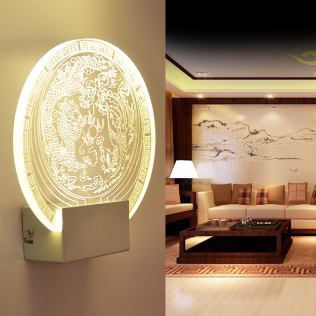 Led Wall Lamp Modern Light Acrylic Carved Indoor Lighting Decoration
