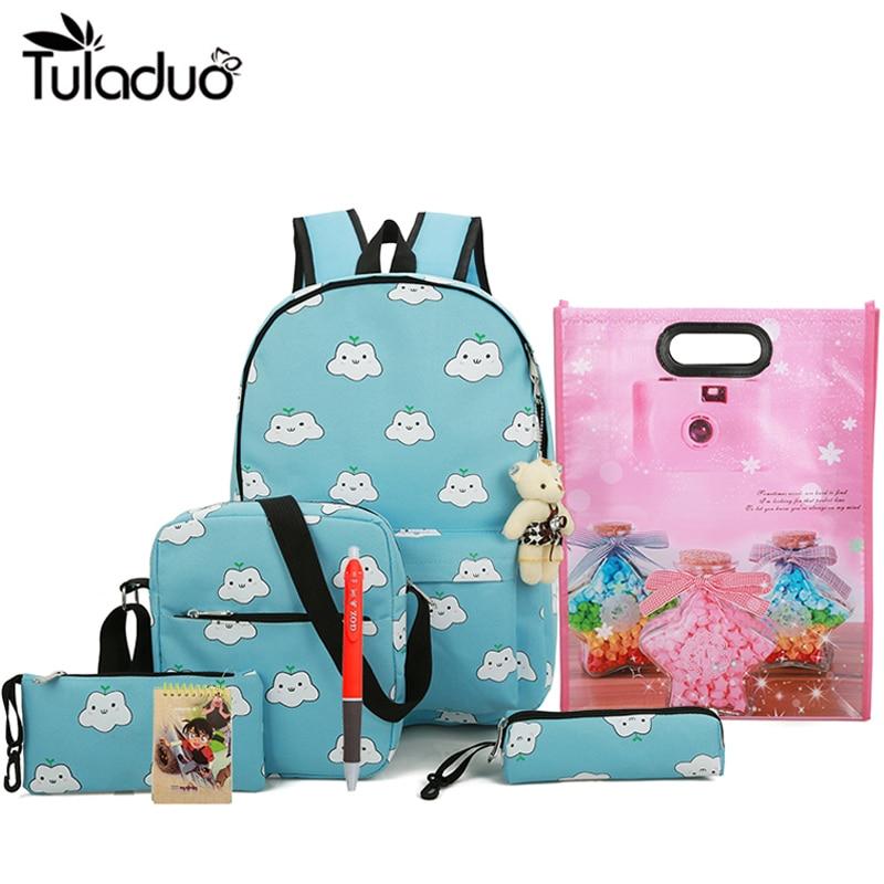 4Pcs/Ses Cute Printing Backpacks for Children school student backpack Canvas Bookbag Primary Girl Schoolbag  Large Capacity screen ses косметики mediderma