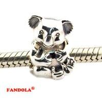 Koala kralen diy past pandora originele charms armband 925 sterling zilveren sieraden voor vrouwen gratis verzending