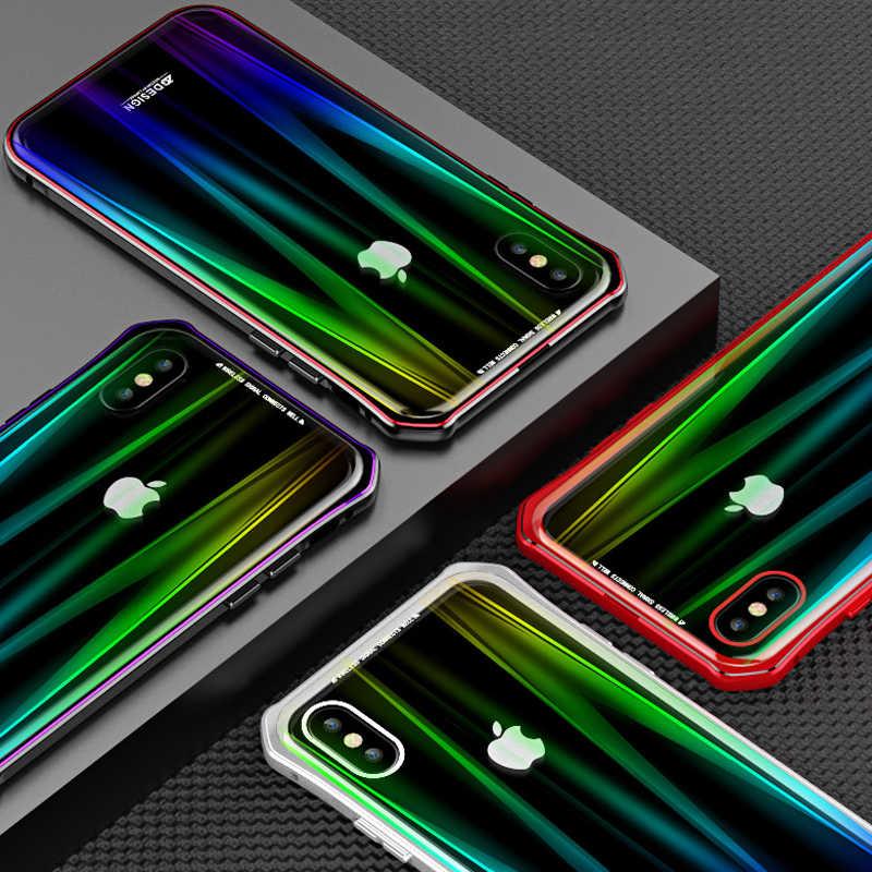 ل iPhone X حافظة فاخرة الصلب المغناطيسي معدن سبائك الألومنيوم الزجاج الشفاف حماية الهاتف حقيبة لهاتف أي فون 10 الغطاء الخلفي