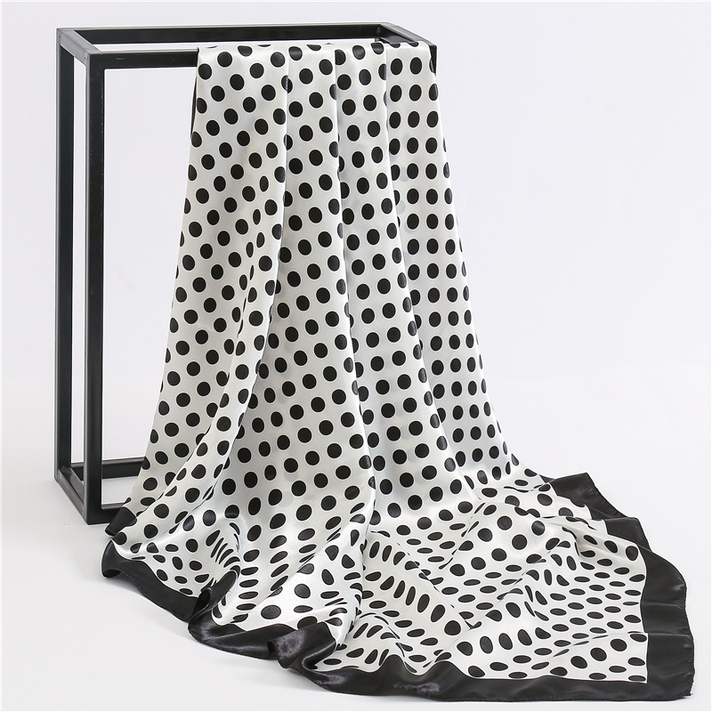 Ladies Multifunction Polka Dot Printed Handle Bag Hair Hijab Shawl Femme Foulard 90*90cm Square Satin Bandana Silk Head Wrap