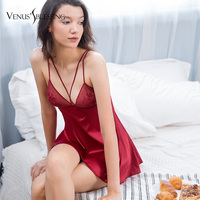 Sexy Nightdress Silk Floral Sleepwear Lingerie Babydoll Nightgown Sleeveless Women Sleepshirt With Silk Slip Sleepwear Chemises