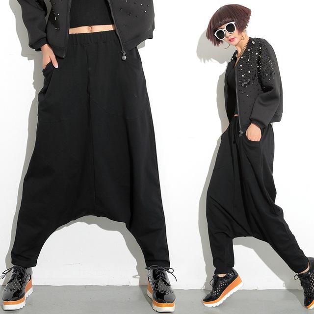 [Twotwinstyle] 2017 primavera harem pants de cintura elástica hip hop solta superdimensionada calças plissadas mulheres negro cor nova