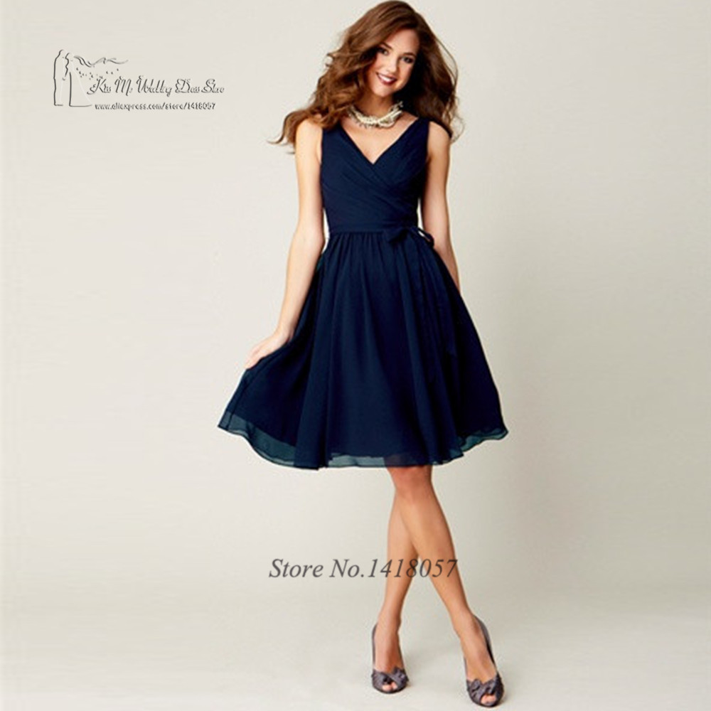 Affordable Wedding Guest Dresses: Beach Purple Navy Blue Bridesmaid Dresses Short Knee