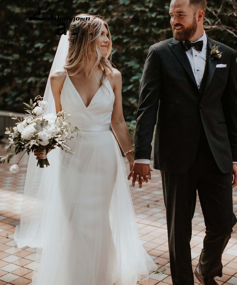 <font><b>Boho</b></font> <font><b>Wedding</b></font> <font><b>Dress</b></font> <font><b>2019</b></font> <font><b>Sexy</b></font> <font><b>Backless</b></font> Mermaid Beach Bride <font><b>Dress</b></font> with Detachable Tulle Train Vestidos de noiva Bridal Gowns image