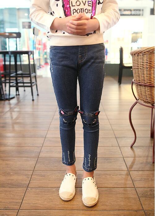 Baby Mädchen Elastische Taille Eng Anliegende Hosen Freies Verschiffen Hohe Qualität Exzellente QualitäT Mädchen Kleidung Vorsichtig 2018 Heißer Verkauf Mädchens Katze Muster Jeans Hosen Jeans
