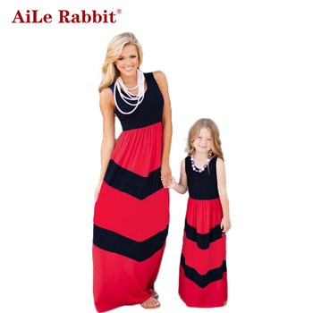 AiLe Rabbit Summer Style Family Matching Outfits Mother Daughter Dresses Contrast Color Blue A-Line Dress  Mother & Kids Clothes