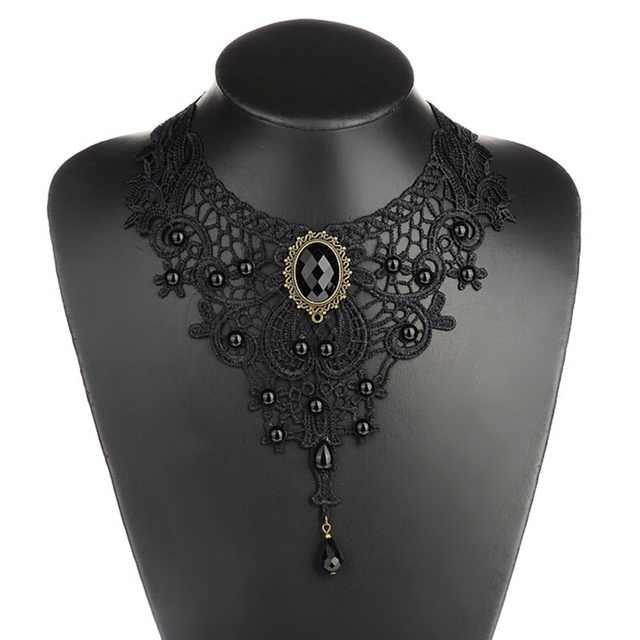 Luxury Vintage Floral Lace Steampunk Choker Necklace