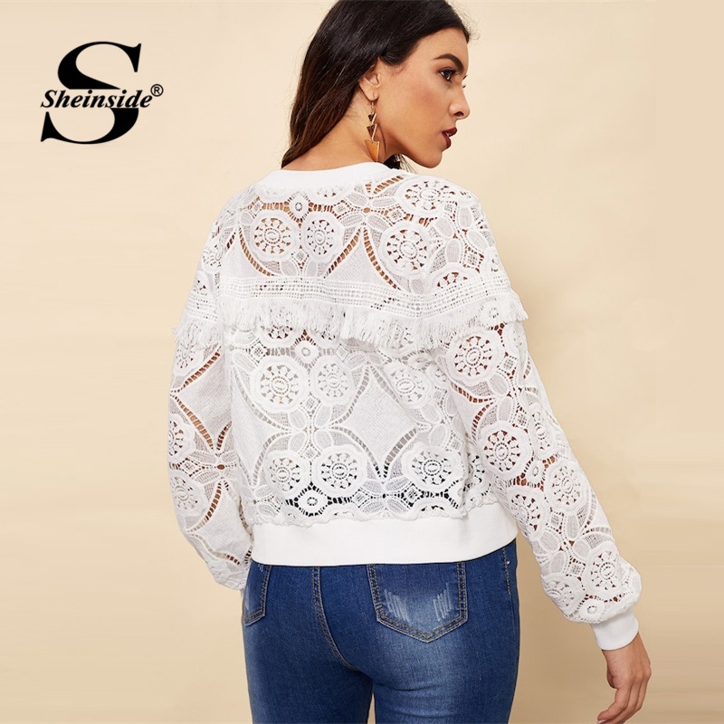 Sheinside White Elegant Hollowed Out Lace Jacket Women's Sheinside Collection