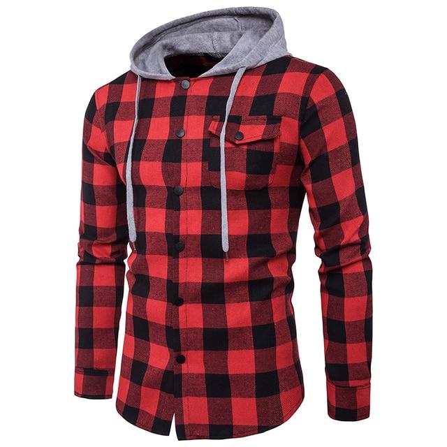 d1d5fa5c5 € 14.39 15% de réduction|BDLJ 2017 hommes Cowboy à capuche chemise à  carreaux printemps automne décontracté à manches longues doux et ...