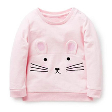 Children T-Shirt Cute Rabbit Pink T Shirt Baby Girls Clothes Autumn New Girl Long Sleeve Solid Sweater Kid Cotton Clothing 2-7T