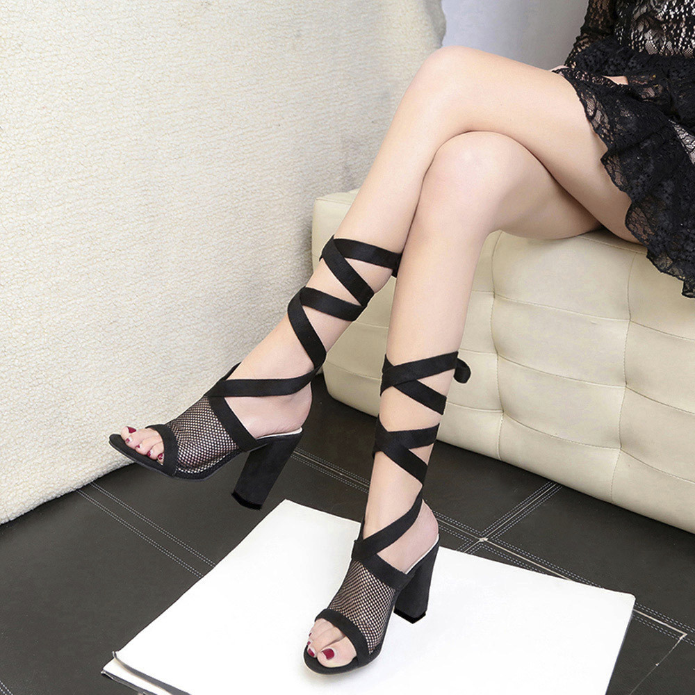 Women Ladies Tie Lace Up Sandals Ankle Mesh High Heels Block Party Shoes