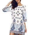Чешские Женщины Летом Случайные Свободные Dress 2017 Новые Цветочные Печатных О шеи Половина Рукава Спинки Партия Пляж Мини-Платья Vestidos