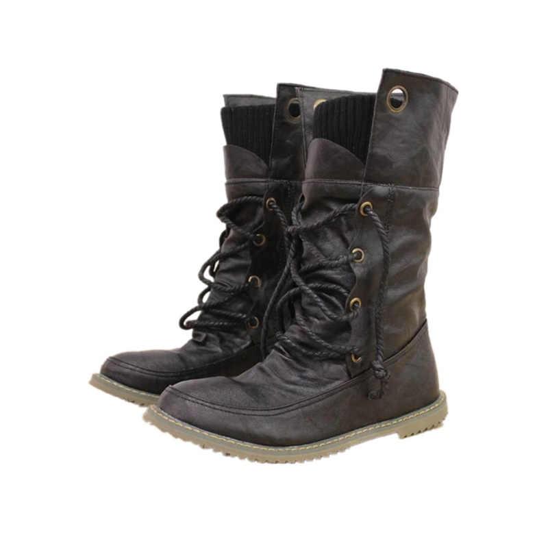 BONJOMARISA Kadın Motosiklet Kürk Botları Düz Dantel Kadar Kış Ayakkabı Kadın Orta buzağı Kar Botları Bayan Ayakkabıları Büyük Boy 34-43