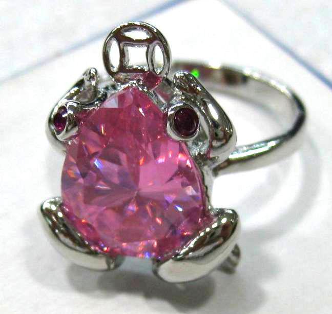 FREE SHIPPINGa3 colors! fancy pink/yellow/purple frog zircon bead bless love ring #789