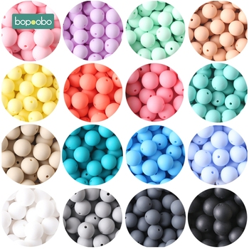 Bopoobo 15mm 10pc Silicone Beads Food Grade Silicone Baby Teething Products Chews Pacifier Chain Clips Beads Baby Teethers