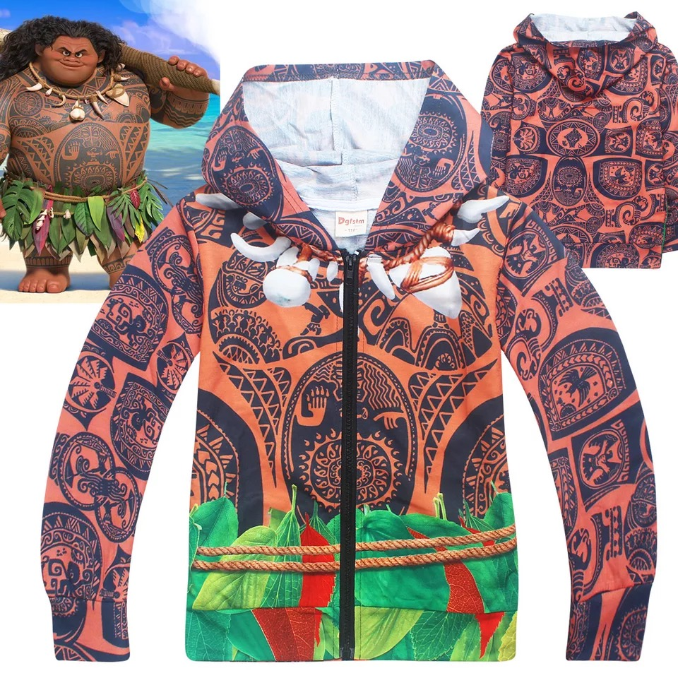 Child Boys Autumn Thin Hoodie Halloween Funny Costume Jacket Moana Maui Cos Fancy Zip Sweatshirt Joking Coat Gift For Baby Kids