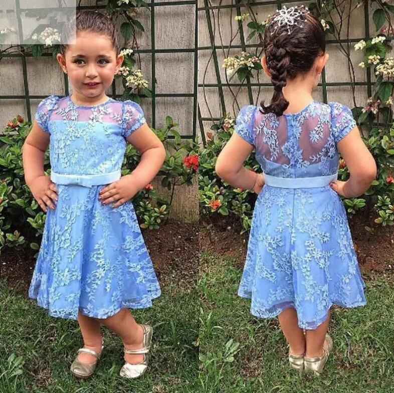 Cute New Blue Knee Length Flower Girls Dresses Sheer Crew Neck Short Sleeves Full Lace Lovely Girls Pageant Gown