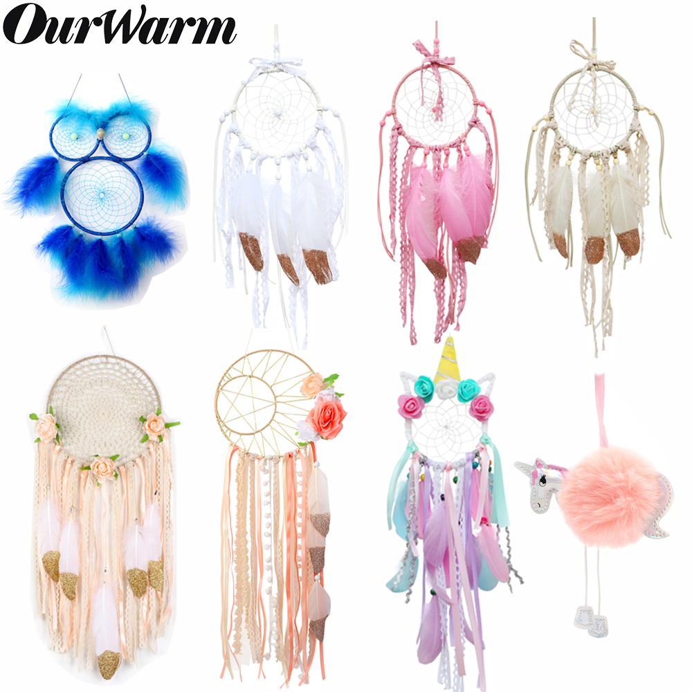OurWarm Boho Dream Catcher Home Hanging Decoration Dreamcatcher Unicorn Moon Owl Flower Decoration Wedding Party Gifts For Guest