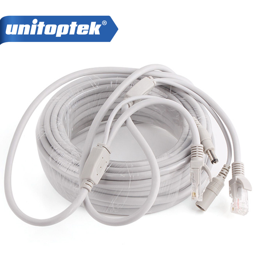 10 m/20 m/30 m/40 m Cavo Ethernet RJ45 + DC Potenza CAT5/5e Cavo di Rete Cavo Lan Per Ip NVR Sistema CCTV di Colore Grigio