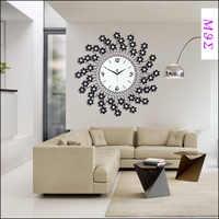 22 incheswrought 鉄の壁時計 wanduhr 家の装飾モダンなデザイン腕時計ヴィンテージ saat relojes 比べ decoracion 花ダイヤモンド
