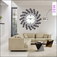 22incheswrought iron wall clock wanduhr home decor modern design watch vintage saat relojes pared decoracion Flower diamond