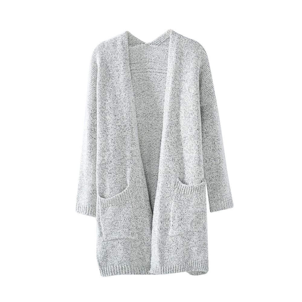 Autumn Winter Fashion Women Long Sleeve Loose Sweater Knitted Cardigan Silver warm high quality