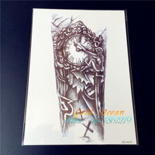 Large 15x21CM Removable Body Art Arm Shoulder Evil Old Clock Temporary Tattoo Men GQS-A030 Fake Transfer Cross ArmBand Stickers