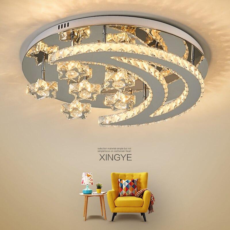 Современные светодиодные потолочные лампы из нержавеющей стали/кристалла для гостиной, спальни, потолочные светильники|Потолочные лампы|   | АлиЭкспресс