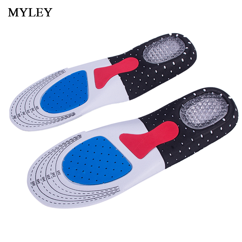 MYLEY Breathable Unisex Insoles Sweat Damping Orthotic Arch Support Shoe Pad Free Size Gel Insoles Insert Cushion for Men Women