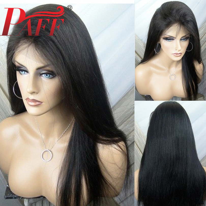 PAFF Pre Plucked Full Lace Human Hair Wigs Free Part With Baby Hair Brazilian Remy Wig 180density Straight Full Lace Wig