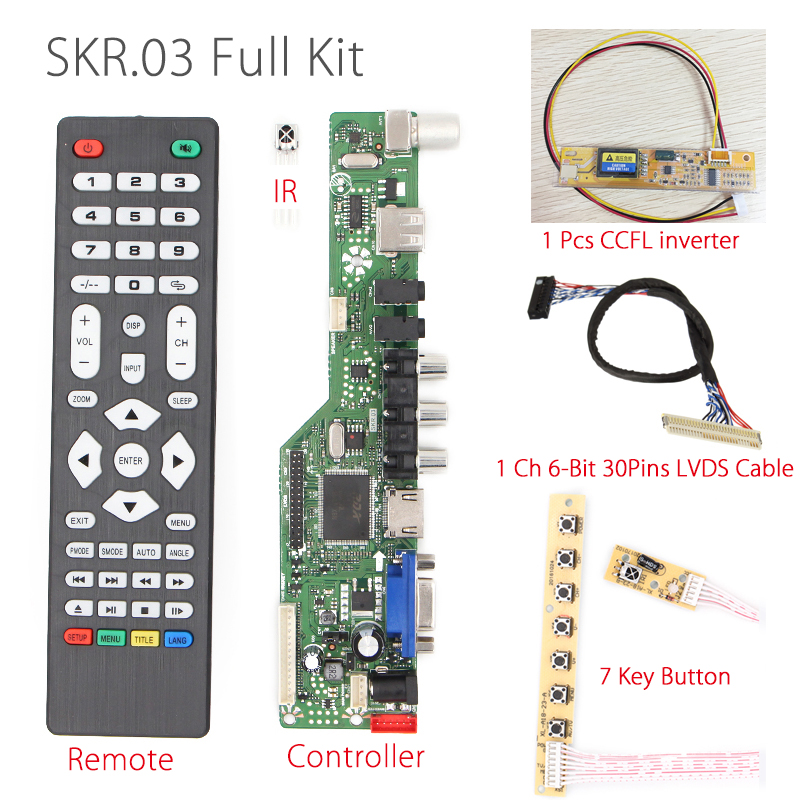 SKR.03 8501 Universal LCD LED TV Controller Driver Board TV/AV/VGA/HDMI/USB+IR+7 Key button+inverter+lvd cable for small size