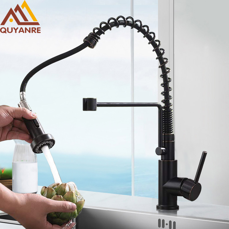 купить Blackend Nickel Spring Kitchen Faucet Pull Out Sprayer Single Handle Mixer Tap Faucet Lead-free 360 Rotation Kitchen Faucets Tap по цене 4060.87 рублей