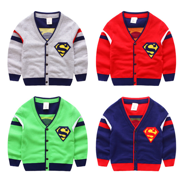 Мальчики Свитер Кардиган Новый Осень Дети Бобо Выбирает Супермен Стиль Свитер Джемпер Для Мальчиков Девочек Детские Свитера Одежда