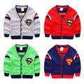 Meninos Camisola do bebê Cardigan Outono Nova Crianças Bobo Choses Superman Estilo Blusas de Jumper de Camisola Para Meninos Das Meninas Do Bebê Roupas