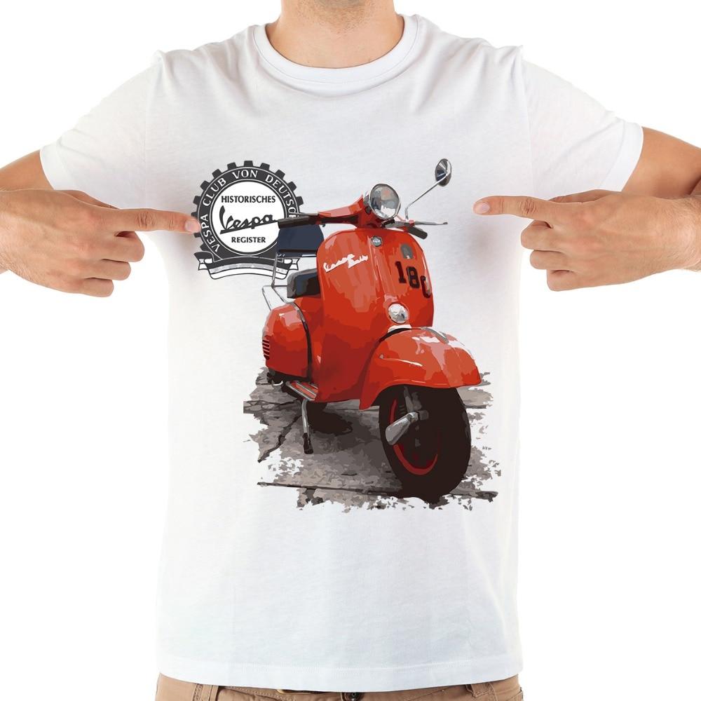 US $7 64 OFF Klasik Vespa T Shirt Pria Jollypeach Baru Kasual Kemeja Tee Homme Nyaman Tshirt Ukuran T shirt Tidak Ada Lem Perasaan cetak di