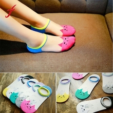 1 Pairs Fashion Womens Socks Funny Cat Pattern Glass fiber Casual Ankle High Low Cut Invisible Cotton popsocket