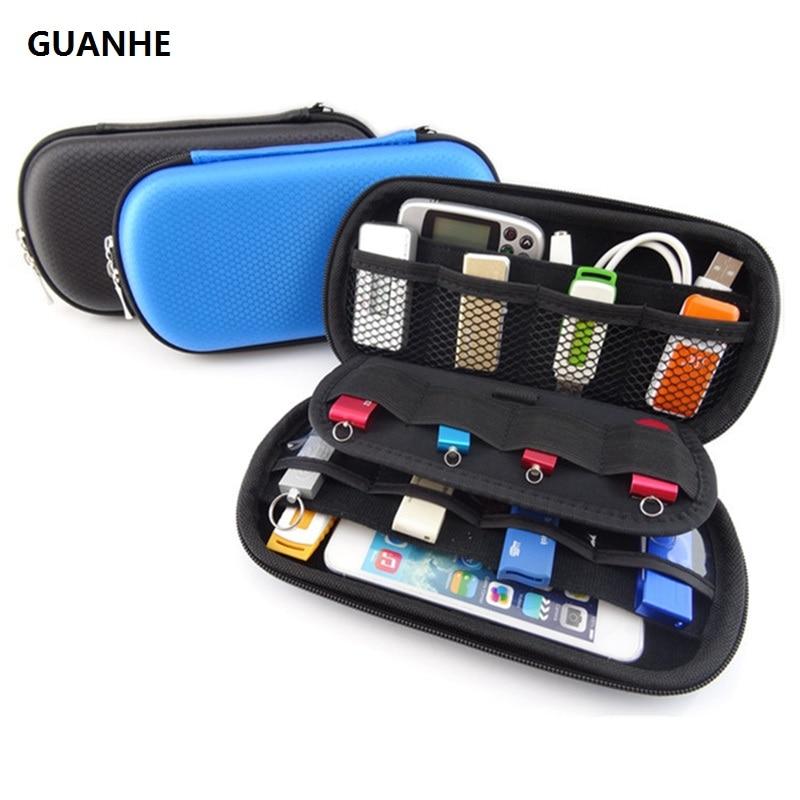 GUANHE HDD ციფრული გაჯეტის სამგზავრო შენახვის ჩანთა U დისკისთვის, USB მონაცემთა კაბელისთვის, SD ბარათისთვის, ტელეფონით, ელექტრონული მყარი დისკის ტომარით