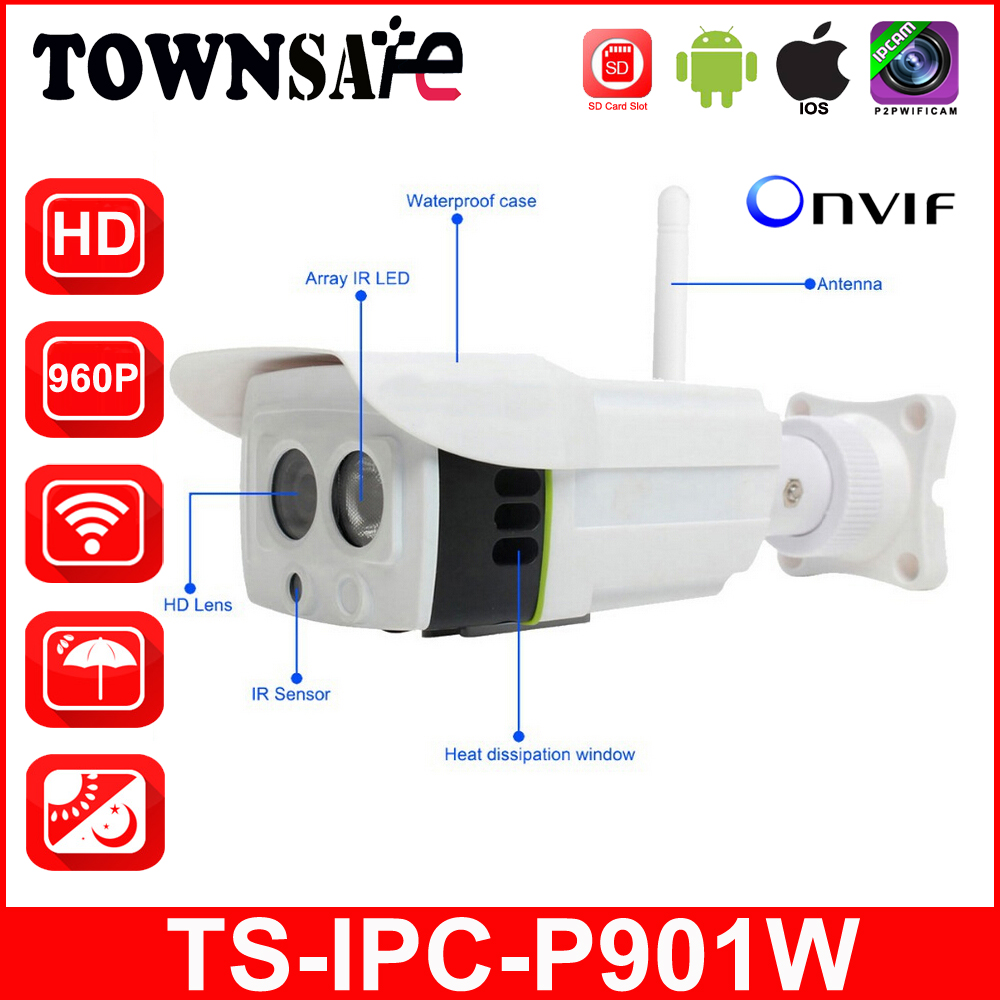 TOWNSAFE TS-IPC-P901W HD 960P 1.3MP Wifi Wireless Bullet IP Camera ONVIF H.264 Outdoor IR With SD/TF Card Slot Audio Cable P2P ac dc 36v ups power supply 36v 350w switch power supply transformer led driver for led strip light cctv camera webcam