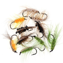 цены 10PCS #6 Insect Bait Trout Flies Barbed Fishhook Woolly Worm Brown Caddis Nymph Fly Deer Hair Beetle Trout Fly Fishing Bait