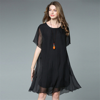 Women S Leisure Work Dresses Newest Black Green Silk Chiffon Short Sleeves Loose Dress Knee Length