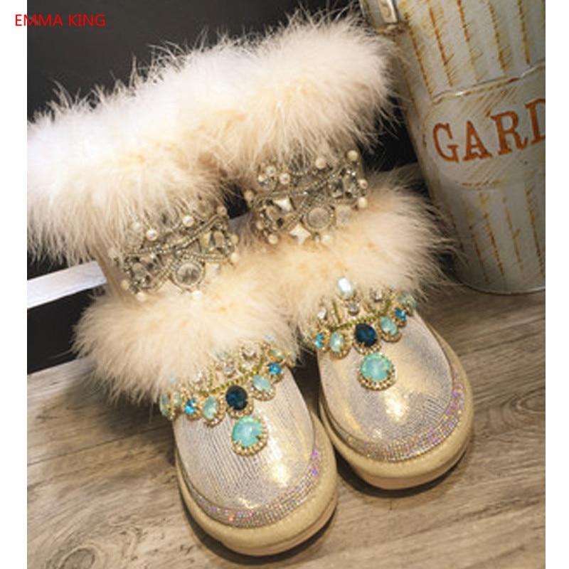 Chaud Rihanna D'hiver Femmes Shown Chaussons Neige In Bottes Main 2018 Picture Strass Confortable Fourrure Chaussures As De Nouveau Femme Coton Cheville nxapqpP81w