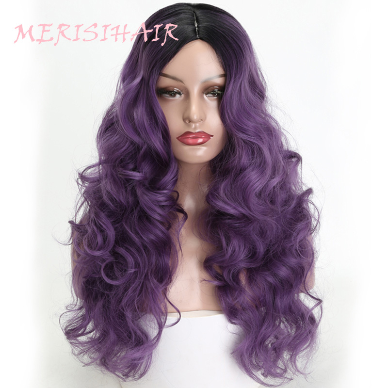 MERISI HAIR 24 inch purple long water wave wig female models black Ombre synthetic hair high temperature fiber silk