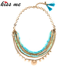 Nuevos Artículos Boho Elegante Luz Azul Perlas de Las Mujeres Collar de Múltiples Capas Collar de Fábrica Al Por Mayor