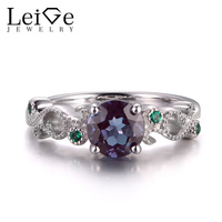 LeiGe Jewelry Unique Alexandrite Rings Anniversary Rings Round Cut Rings June Birthstone Solid 925 Sterling Silver