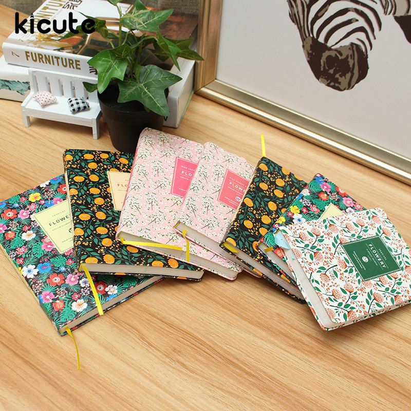 Kicute PU Leather Hard Cover Flower Floral Schedule Book Diary Weekly Monthly Planner Organizer Notebook School Stationery