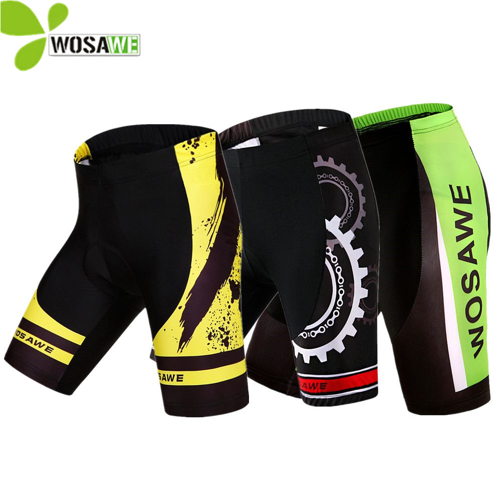 WOSAWE Hommes 3D Gel Rembourré Vélo Shorts Antichoc VTT Vélo Vélo De Montagne Vêtements En Plein Air Sports Cycle Wear Down Downhill Court