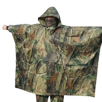 Poncho impermeable de camuflaje para bosque de poliéster para caza al aire libre no pegue la hierba