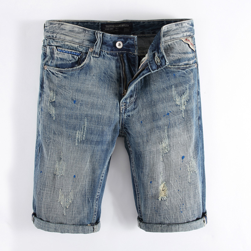 Italian Style Fashion Mens Jeans Shorts Summer Knee Length Paint Dirty Wash Denim Shorts Men Brand Clothing Youth Casual Shorts italian visual phrase book